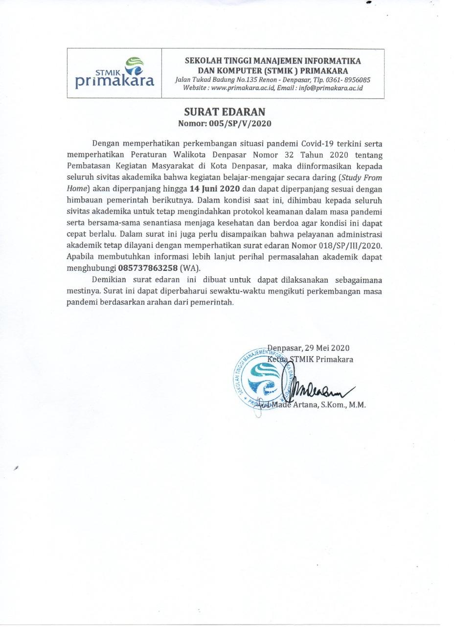 Attachment Surat Edaran Ketua STMIK Primakara SFH Juni 2020